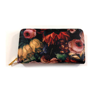 Sweet Marigold Bags - Wallet Womens Clutch Zip Up Black Floral Peony